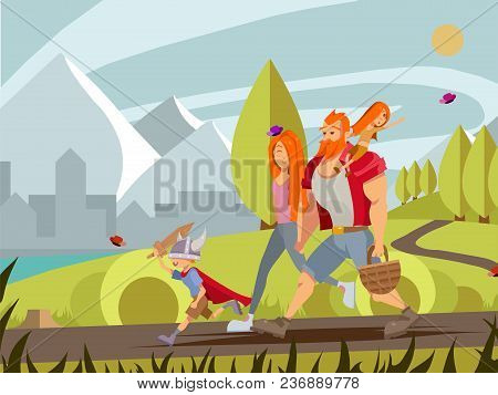 Young Family With Little Boy And Girl Walking In Park. Cartoon Vector Family Walking Outdoor With Mo