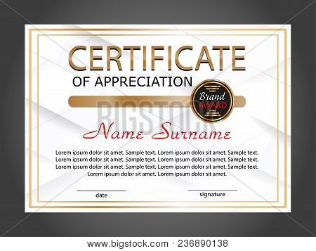Horizontal Certificate Appreciation Or Diploma Template With White Geometric Modern Background. Vect