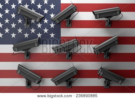 3d Illustration Of Data Protection Technology Privacy Concept With Many Surveillance Cameras With Am