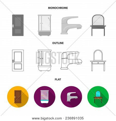 A Bed, An Armchair, A Toilet, A Wardrobe.furniturefurniture Set Collection Icons In Flat, Outline, M