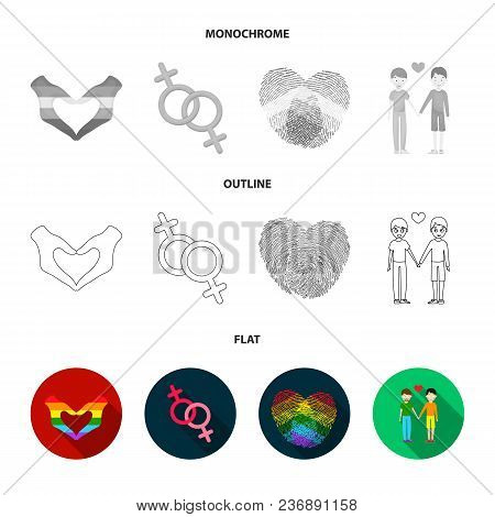 Flag, Unicorn Symbol, Arrows With Heart.gay Set Collection Icons In Flat, Outline, Monochrome Style