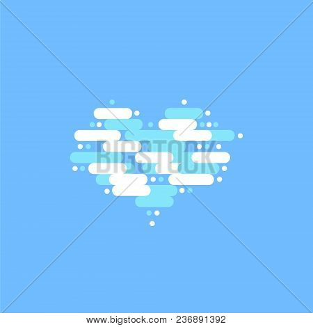 Blue Sky With White Clouds In The Shape Of A Heart. Vector Illustration.