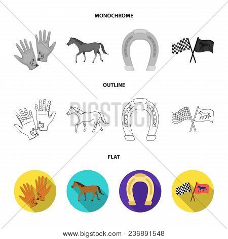 Saddle, Medal, Champion, Winner .hippodrome And Horse Set Collection Icons In Flat, Outline, Monochr