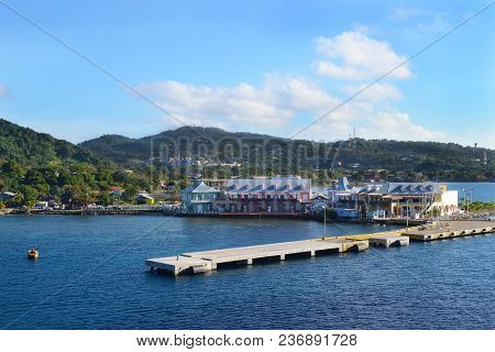Coxen Hole, Roatan, Honduras - Dec 26 2012: Cruise Ship Dock And Town Center. The Port Town Is The L