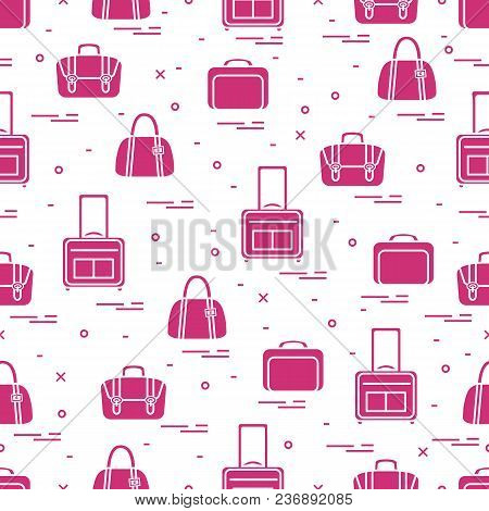 Cute Seamless Pattern With Different Bag And Suitcases For Travel. Summer Time, Vacation. Design For