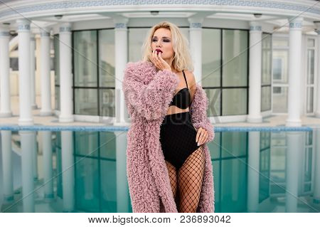 Sexy Girl With Long Hair Posing In Hotel