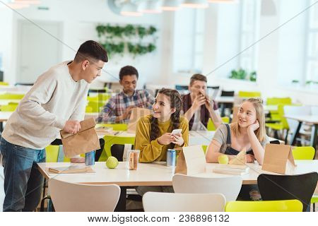 View Of High School Students At School Cafeteria