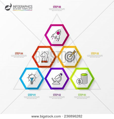Infographic Design Template. Business Concept With Pyramid. Can Be Used For Workflow Layout, Diagram
