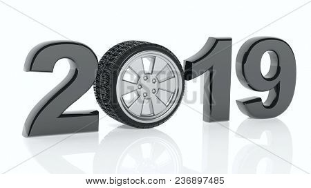 New year 2019 black digits with car's wheel isolated on white background. 3d illustration