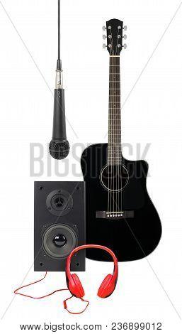 Music And Sound - Front View Black Acoustic Guitar, Microphone, Line Array Loudspeaker Enclosure Cab