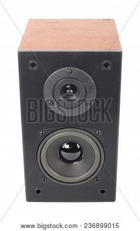 Music And Sound - One Line Array Loudspeaker Enclosure Cabinet Isolated On A White Background.