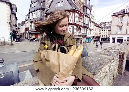 French Girl With Baguettes
