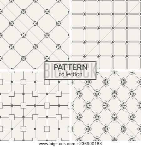 Set Of Four Seamless Patterns. Abstract Geometrical Trendy Vector Backgrounds. Linear Style. Modern