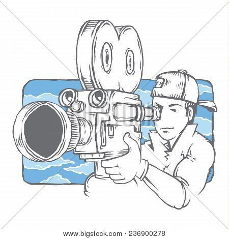 Isolated Camera Crew Cameraman In The Movie. Camera, Shooting The Film.operator Director