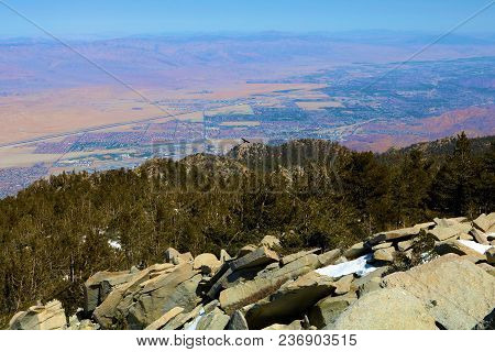 Rugged Rocky Terrain Overlooking The Desert Including The City Of Palm Springs Taken At Mt San Jacin