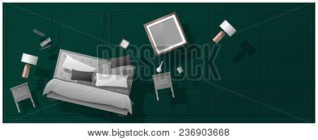 Interior Concept Background With Furniture Hovering Into New Bedroom , Vector , Illustration