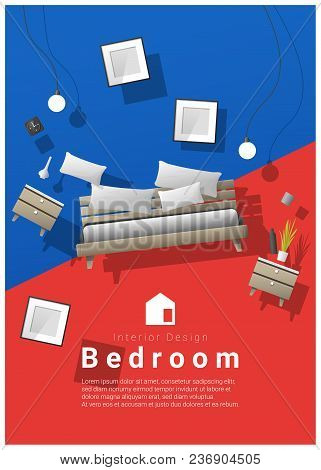 Vertical Interior Banner Sale With Bedroom Furniture Hovering On Colorful Background , Vector , Illu