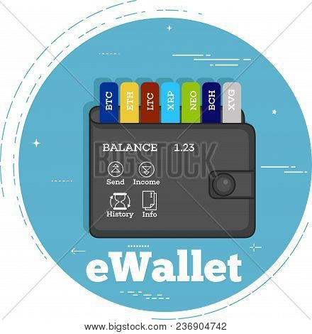 Crypto Currencies Wallet Trendy Concept In Line Art Style. Banking And Finance, Digital Money And Bl