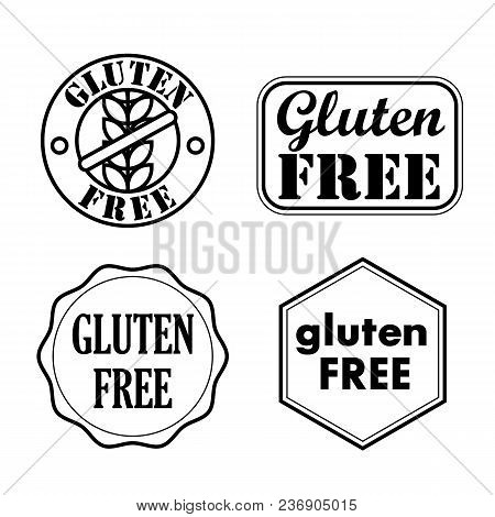 Gluten Free Seals, Badges, Icons. Vector Illustration.