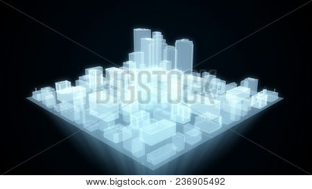 Abstract Futuristic City Hologram On Black Background 3d Illustration