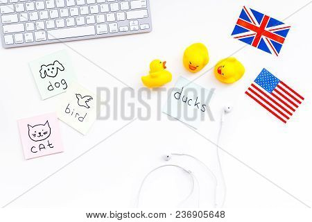English For Children. British And American Flags, Computer Keyboard, Stickers With Vocabulary, Toy,