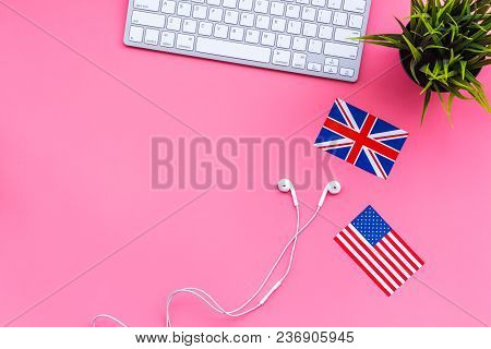 Learn English Online. Computer Keyboard, Headphones, British And American Flags On Pink Background T