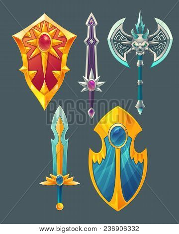 Vector Set Of Fantasy Items, Fairy Tale Game Design Objects Isolated On Grey Background. Golden Swor