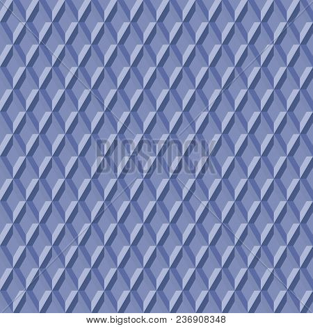 Simple Abstract Vector Pattern Of Repeating Shapes. Seamless Blue Background