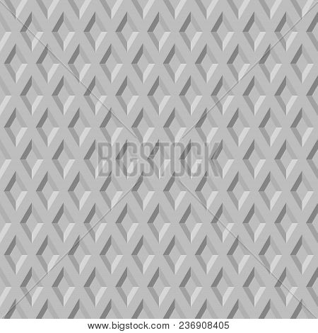 Simple Abstract Vector Pattern Of Repeating Shapes. Seamless Gray Background