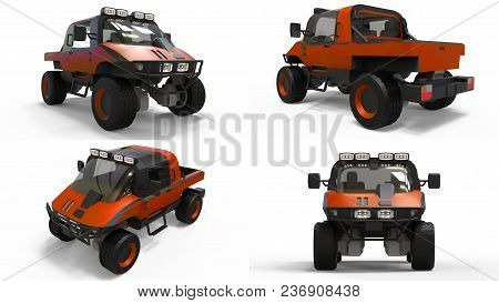 Set Special All-terrain Vehicle For Difficult Terrain And Difficult Road And Weather Conditions. 3d