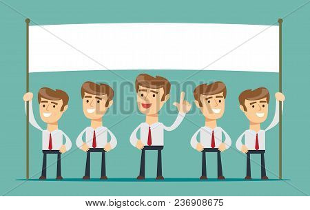 Business Man Showing Blank Signboard, Isolated On Background. Stock Flat Vector Illustration.