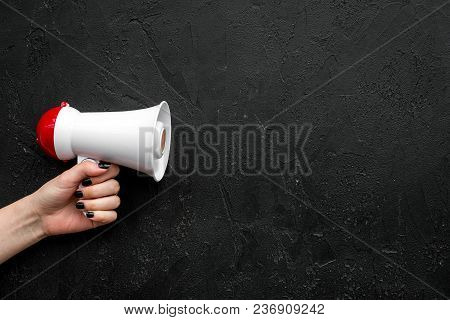 Announcement Concept. Megaphone In Hand Top View Copy Space