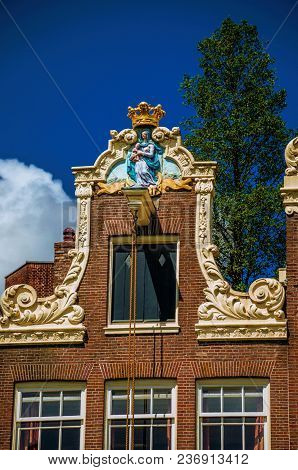 Close-up Of Facade Decoration At Begijnhof, A Medieval Semi-monastic Community In Amsterdam. Famous