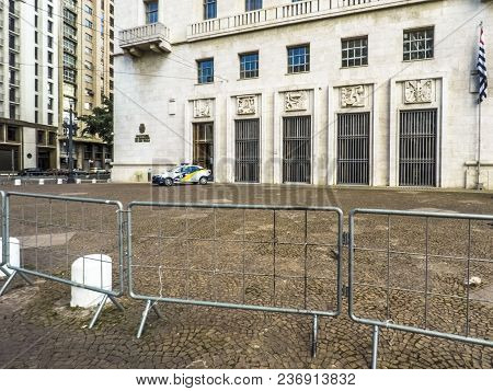 Sao Paulo, Brazil, March 24, 2018. Grid In Front Of Anhangabau Palace Or Matarazzo Building, City Ha