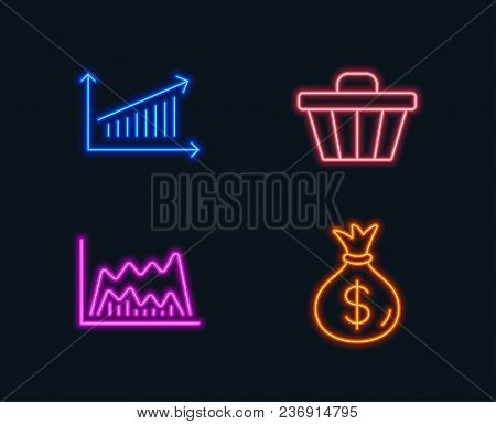 Neon Lights. Set Of Trade Chart, Shop Cart And Chart Icons. Money Bag Sign. Market Data, Web Buying,
