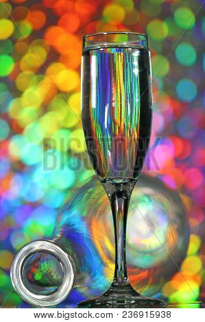 Wine Glasses On A Colorful Background, Selective Focus.