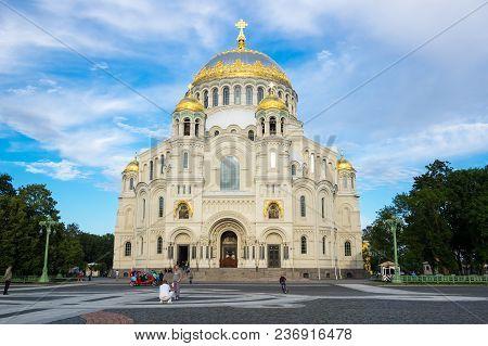 Saint- Petersburg, Russia - July 11, 2016: View Of Naval Cathedral In Kronshtadt, Saint-petersburg,