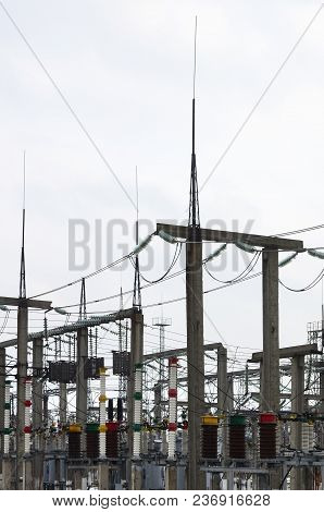 Power Plant Is A Station Of Transformation. A Lot Of Cables, Poles And Wires, Transformers. Electro-