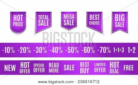 Vector Collection Of Purple Sale Tags With Text - Limited Edition, Best Choice, Special Offer. Label