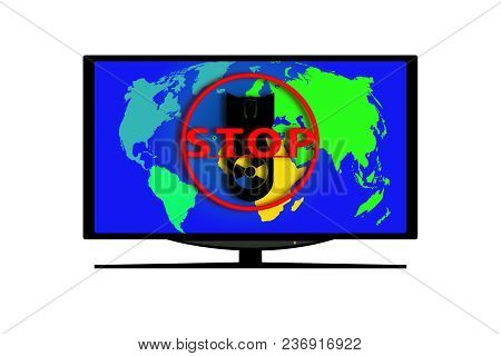 Monitor On White Background. On The Screen Of The World Map, The Silhouette Of An Atomic Bomb And A