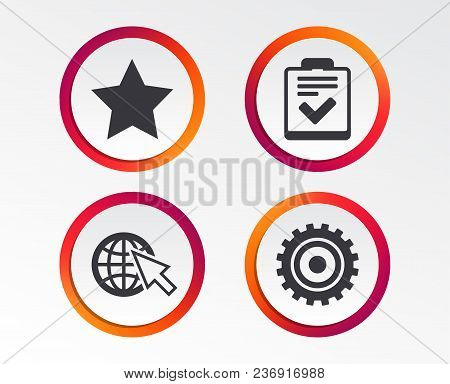Star Favorite And Globe With Mouse Cursor Icons. Checklist And Cogwheel Gear Sign Symbols. Infograph
