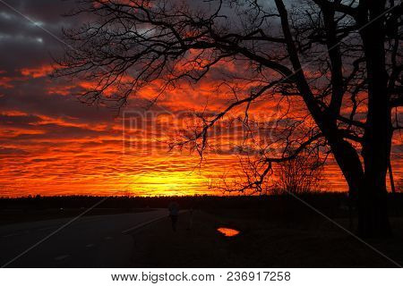 Dramatic Red Sunset In Dark Cloudy Sky