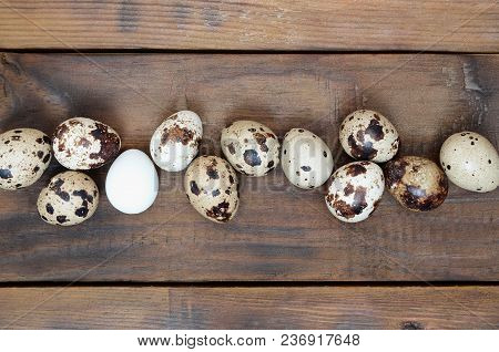 Quail Eggs On A Dark Brown Wooden Surface, Top View, Empty Place For Text, Recipe