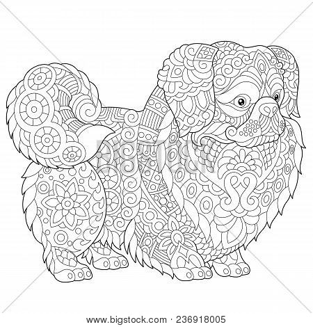 Coloring Pages. Pekingese Or Japanese Chin Dog Breed. Adult Coloring Book Idea. Antistress Freehand