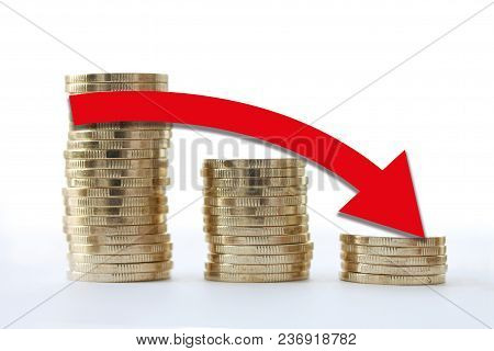 Gold Coin Stacks Icon In Shape Of Diagram. Red Arrow Going Down. Economy Decline Business Concept On