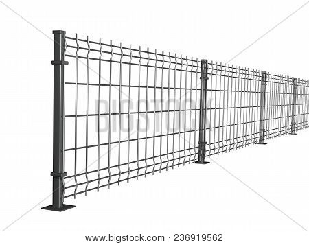 Grating Wire Industrial Fence Panels, Grey Pvc Metal Fence Panel 3d Illustration On Isolated White B