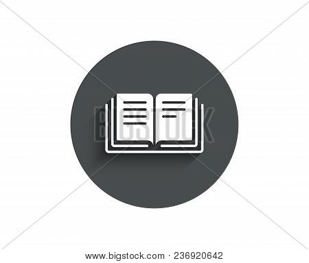 Book Simple Icon. Education Symbol. Instruction Or E-learning Sign. Circle Flat Button With Shadow.