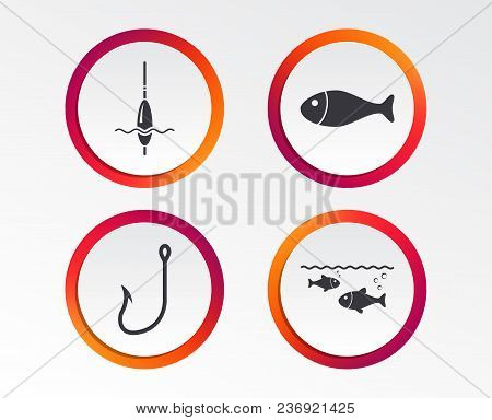 Fishing Icons. Fish With Fishermen Hook Sign. Float Bobber Symbol. Infographic Design Buttons. Circl