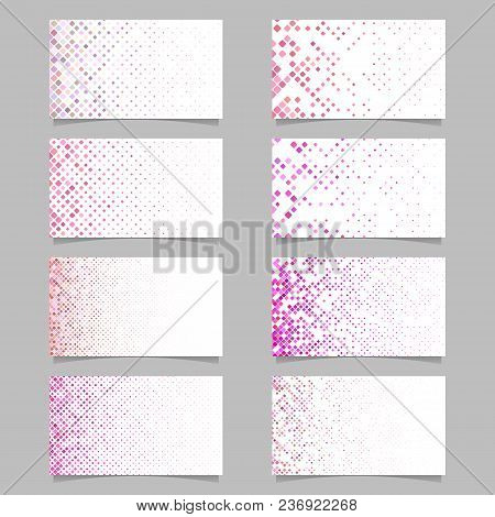 Abstract Digital Rounded Square Pattern Card Template Set In Pink Tones