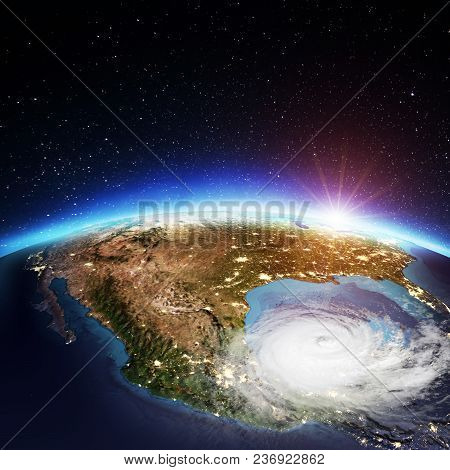 United States Cyclone. Elements Of This Image Furnished By Nasa. 3d Rendering